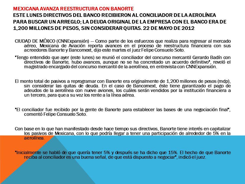 MEXICANA AVANZA REESTRUCTURA CON BANORTE ESTE LUNES DIRECTIVOS DEL BANCO RECIBIERON AL CONCILIADOR DE LA AEROLÍNEA PARA BUSCAR UN ARREGLO; LA DEUDA OR