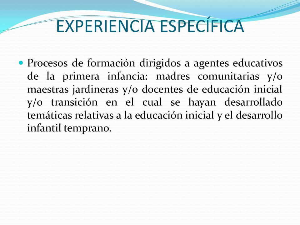 EXPERIENCIA ESPECÍFICA Procesos de formación dirigidos a agentes educativos de la primera infancia: madres comunitarias y/o maestras jardineras y/o do