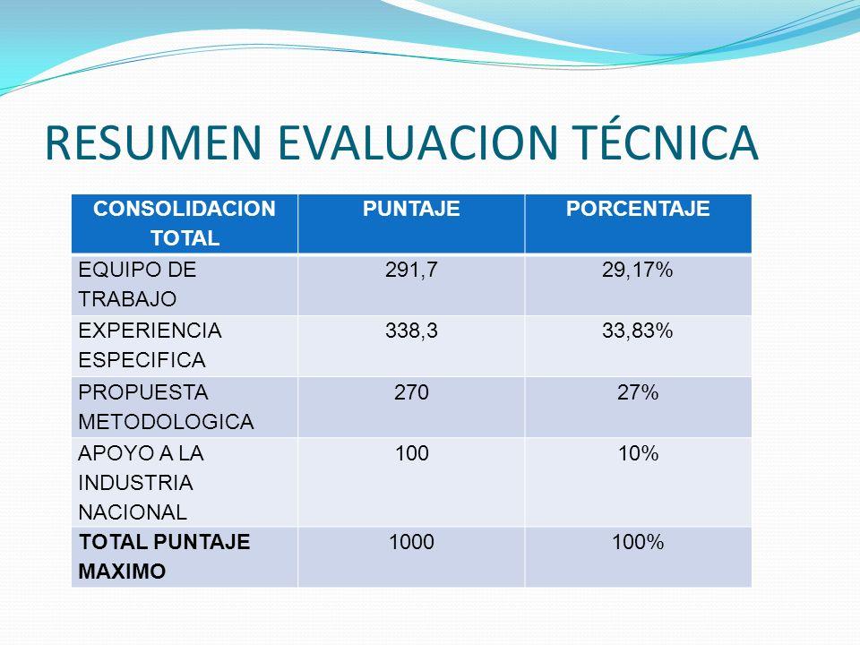 RESUMEN EVALUACION TÉCNICA CONSOLIDACION TOTAL PUNTAJEPORCENTAJE EQUIPO DE TRABAJO 291,729,17% EXPERIENCIA ESPECIFICA 338,333,83% PROPUESTA METODOLOGI