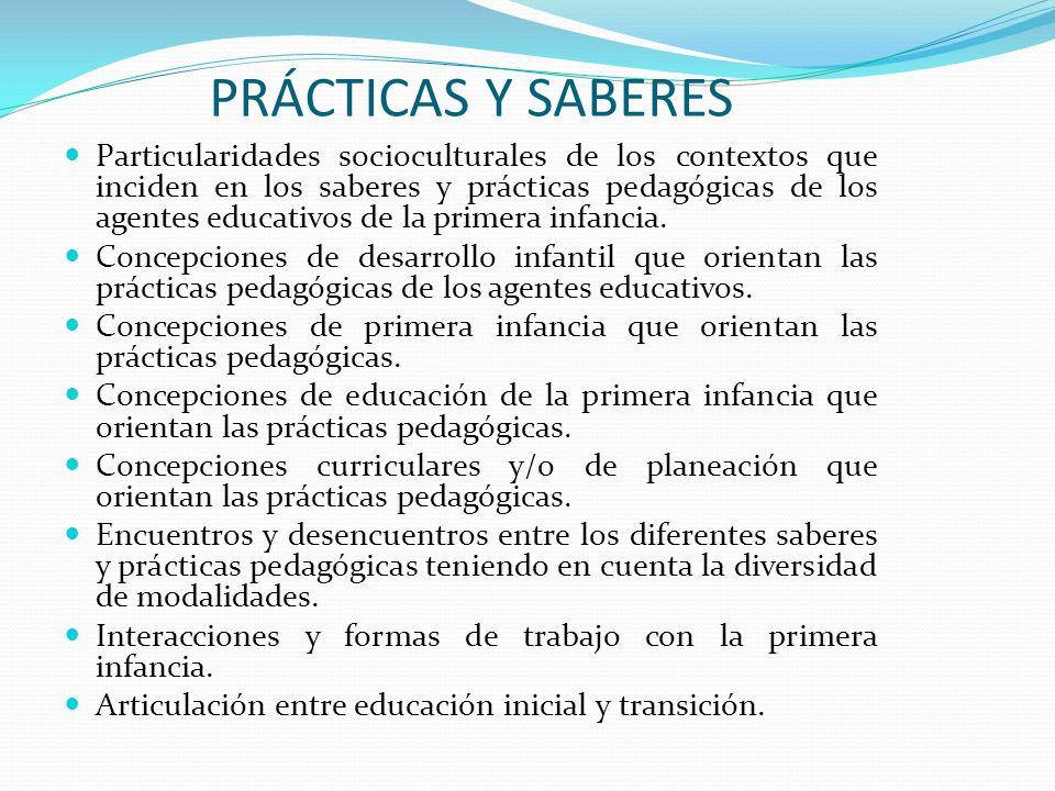 PRÁCTICAS Y SABERES Particularidades socioculturales de los contextos que inciden en los saberes y prácticas pedagógicas de los agentes educativos de