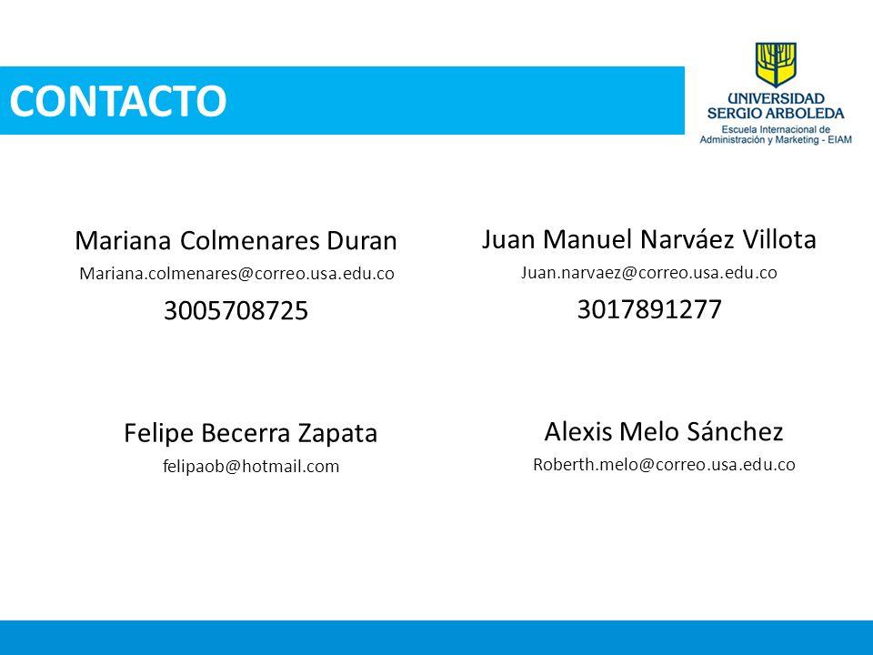 Mariana Colmenares Duran Mariana.colmenares@correo.usa.edu.co 3005708725 CONTACTO Juan Manuel Narváez Villota Juan.narvaez@correo.usa.edu.co 301789127