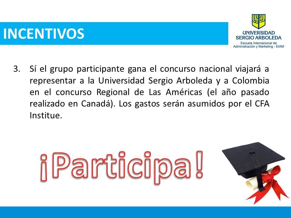 3.Sí el grupo participante gana el concurso nacional viajará a representar a la Universidad Sergio Arboleda y a Colombia en el concurso Regional de La