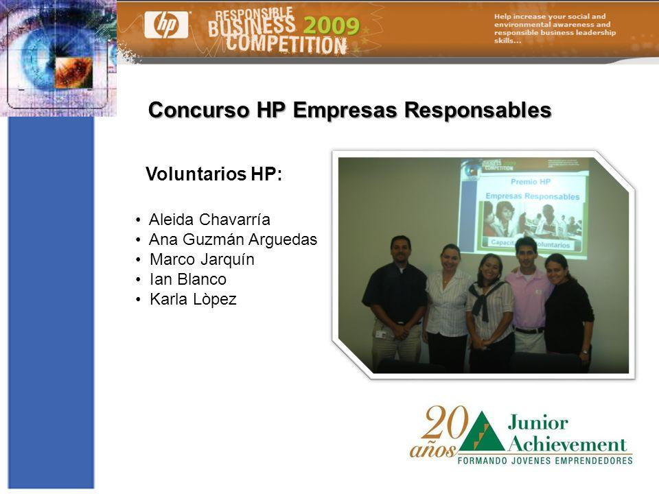Concurso HP Empresas Responsables Voluntarios HP: Aleida Chavarría Ana Guzmán Arguedas Marco Jarquín Ian Blanco Karla Lòpez