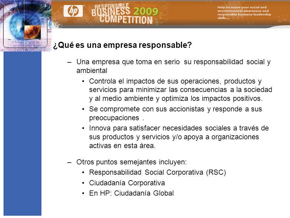 12 ¿Qué es una empresa responsable? –Una empresa que toma en serio su responsabilidad social y ambiental Controla el impactos de sus operaciones, prod