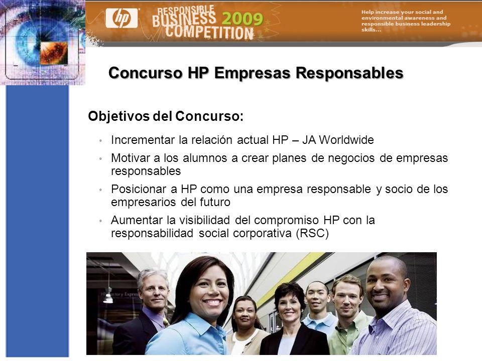 Concurso HP Empresas Responsables Objetivos del Concurso: Incrementar la relación actual HP – JA Worldwide Motivar a los alumnos a crear planes de neg