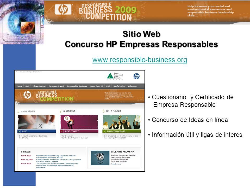 Sitio Web Concurso HP Empresas Responsables Cuestionario y Certificado de Empresa Responsable Concurso de Ideas en línea Información útil y ligas de i