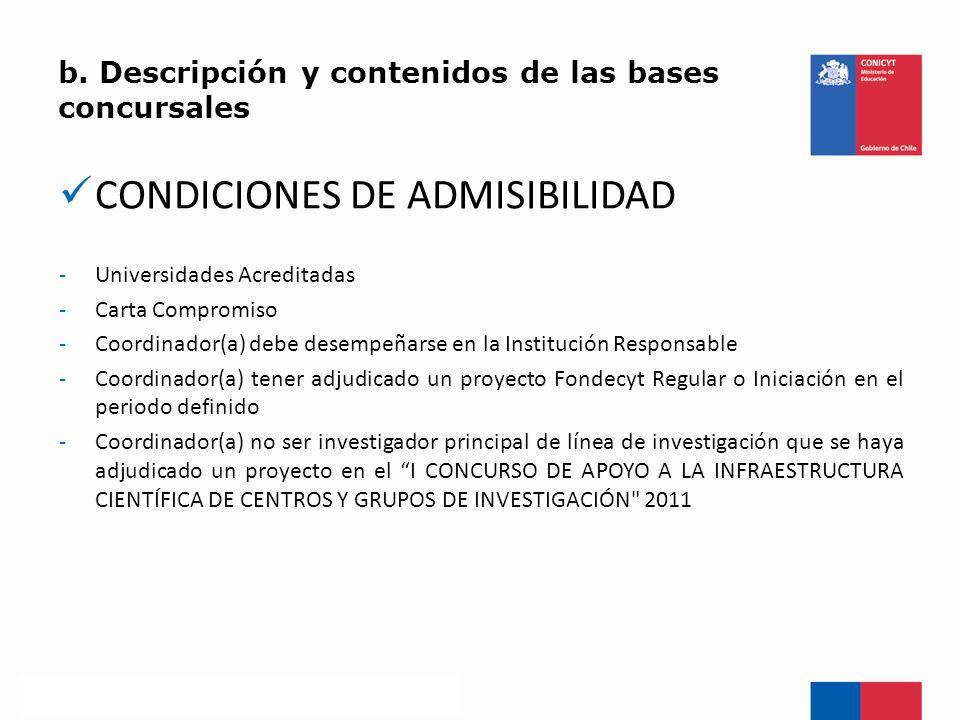 b. Descripción y contenidos de las bases concursales CONDICIONES DE ADMISIBILIDAD -Universidades Acreditadas -Carta Compromiso -Coordinador(a) debe de