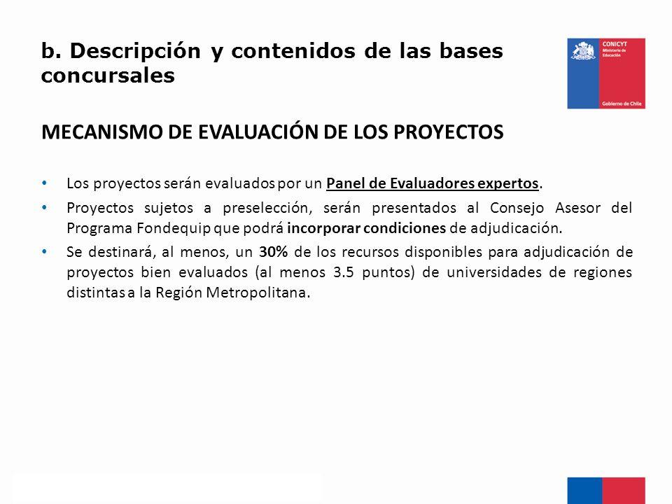 b. Descripción y contenidos de las bases concursales MECANISMO DE EVALUACIÓN DE LOS PROYECTOS Los proyectos serán evaluados por un Panel de Evaluadore