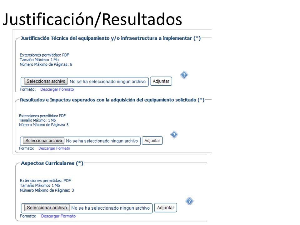 Justificación/Resultados