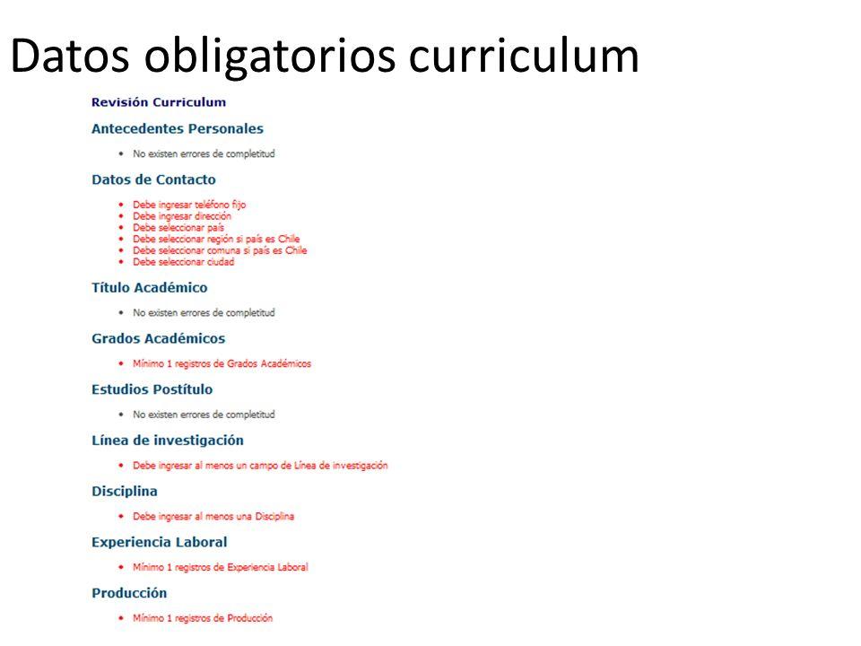 Datos obligatorios curriculum