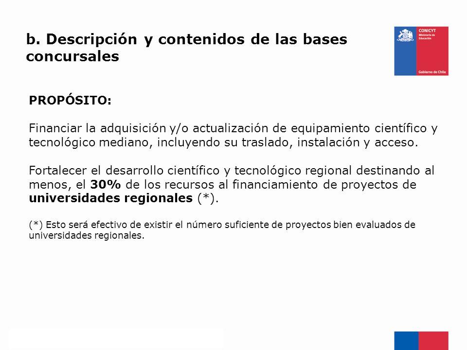 b. Descripción y contenidos de las bases concursales PROPÓSITO: Financiar la adquisición y/o actualización de equipamiento científico y tecnológico me