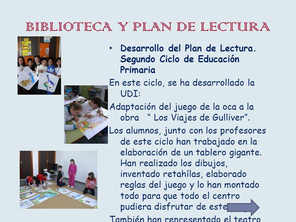 BIBLIOTECA Y PLAN DE LECTURA Desarrollo del Plan de Lectura. Segundo Ciclo de Educación Primaria En este ciclo, se ha desarrollado la UDI: Adaptación