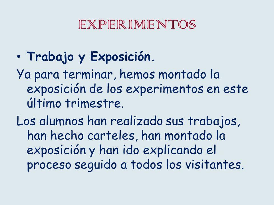 EXPERIMENTOS Trabajo y Exposición. Ya para terminar, hemos montado la exposición de los experimentos en este último trimestre. Los alumnos han realiza