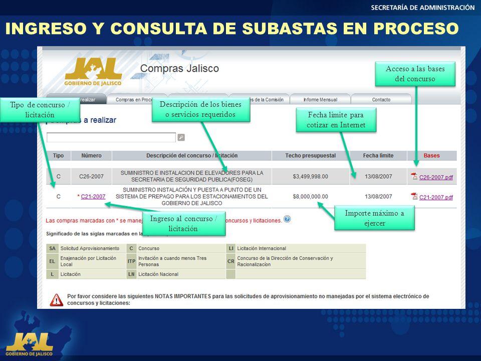 INGRESO Y CONSULTA DE SUBASTAS EN PROCESO Tipo de concurso / licitación Importe máximo a ejercer Ingreso al concurso / licitación Descripción de los b