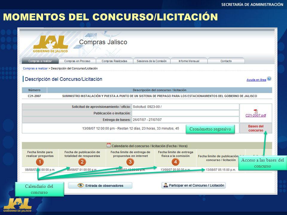 Cronómetro regresivo MOMENTOS DEL CONCURSO/LICITACIÓN Acceso a las bases del concurso Calendario del concurso