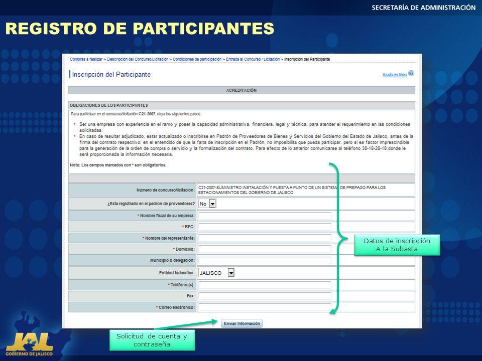 REGISTRO DE PARTICIPANTES Datos de inscripción A la Subasta Datos de inscripción A la Subasta Solicitud de cuenta y contraseña