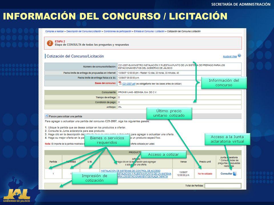 INFORMACIÓN DEL CONCURSO / LICITACIÓN Información del concurso Bienes o servicios requeridos Último precio unitario cotizado Impresión de cotización A