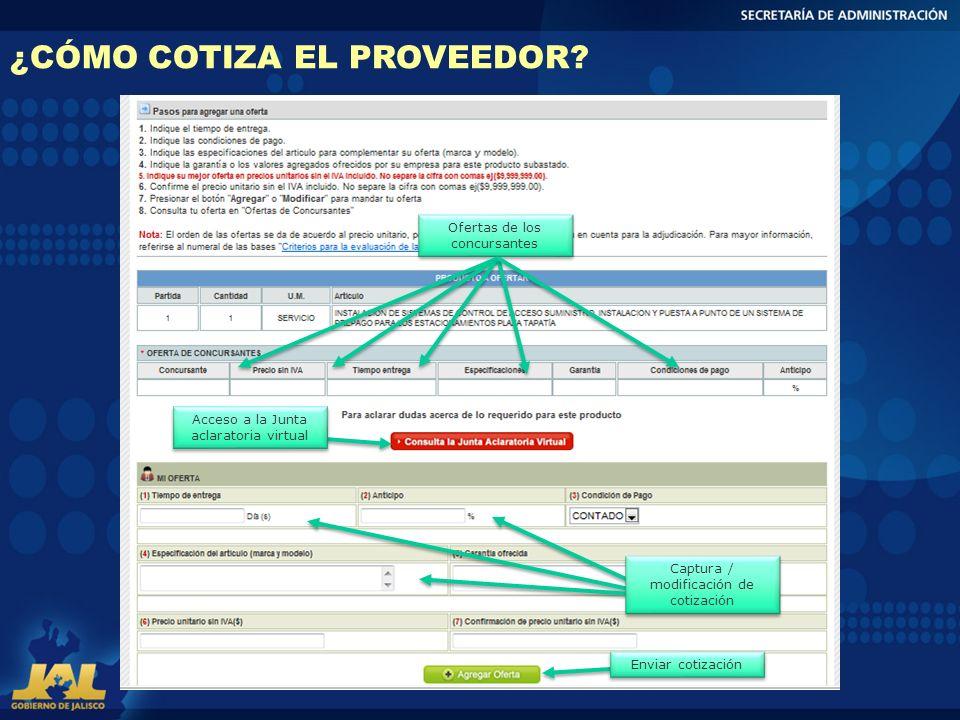 ¿CÓMO COTIZA EL PROVEEDOR? Ofertas de los concursantes Captura / modificación de cotización Acceso a la Junta aclaratoria virtual Enviar cotización