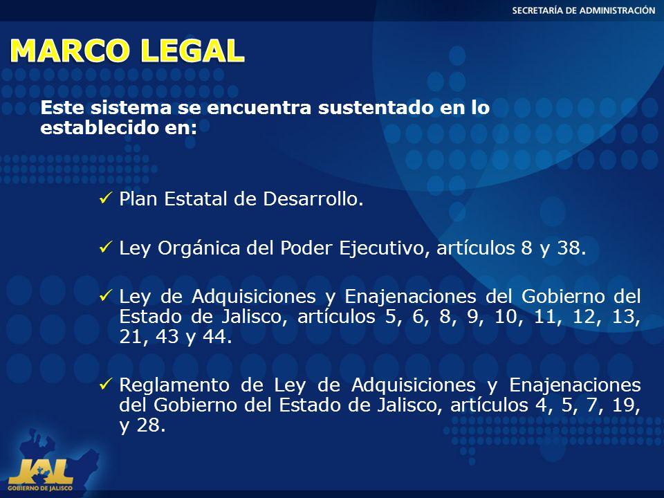 Plan Estatal de Desarrollo. Ley Orgánica del Poder Ejecutivo, artículos 8 y 38. Ley de Adquisiciones y Enajenaciones del Gobierno del Estado de Jalisc