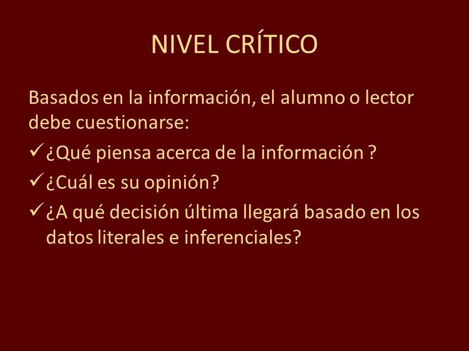 NIVEL CRÍTICO Basados en la información, el alumno o lector debe cuestionarse: ¿Qué piensa acerca de la información ? ¿Cuál es su opinión? ¿A qué deci