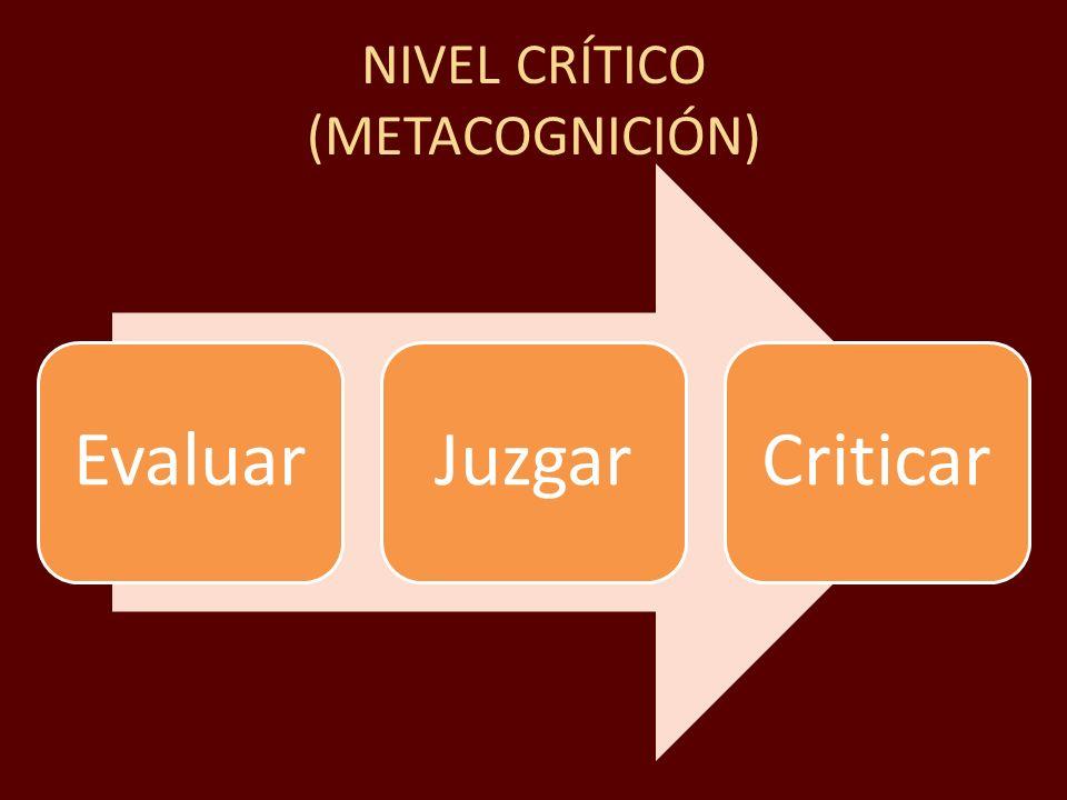 NIVEL CRÍTICO (METACOGNICIÓN) EvaluarJuzgarCriticar