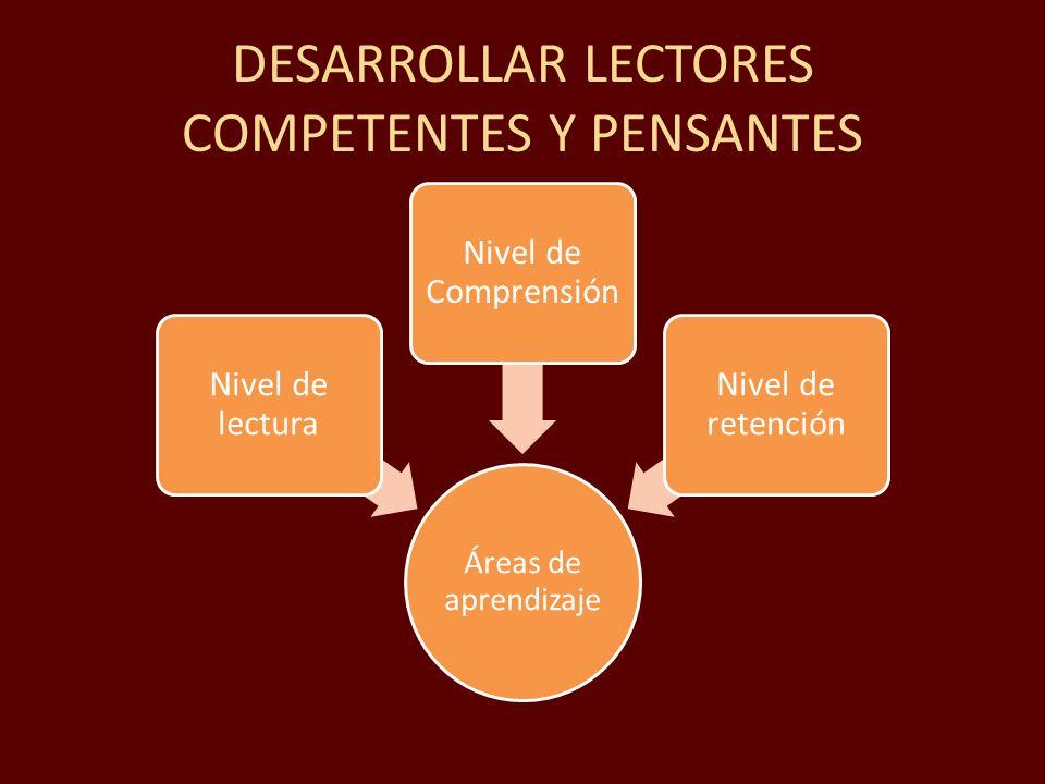 DESARROLLAR LECTORES COMPETENTES Y PENSANTES Áreas de aprendizaje Nivel de lectura Nivel de Comprensión Nivel de retención
