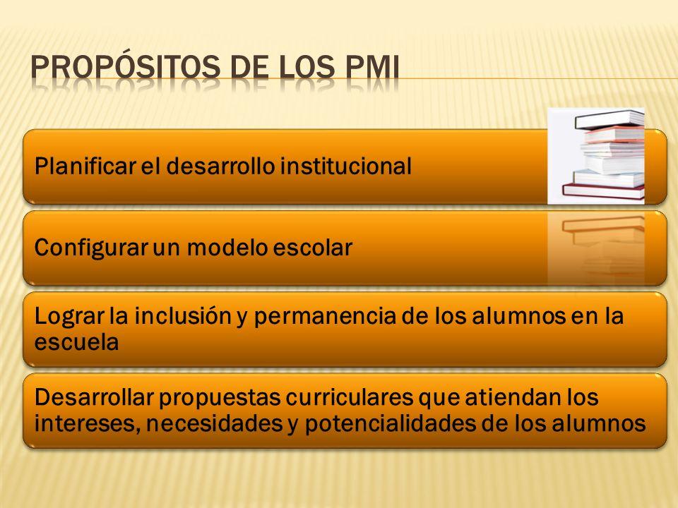 Planificar el desarrollo institucionalConfigurar un modelo escolar Lograr la inclusión y permanencia de los alumnos en la escuela Desarrollar propuestas curriculares que atiendan los intereses, necesidades y potencialidades de los alumnos