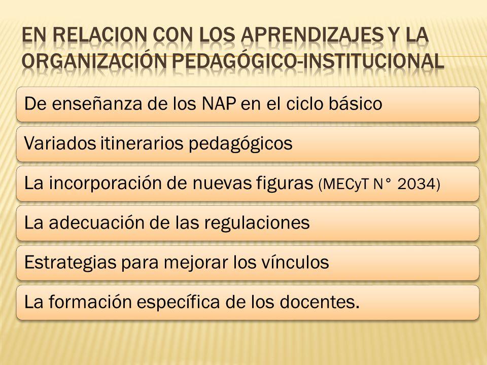 De enseñanza de los NAP en el ciclo básicoVariados itinerarios pedagógicosLa incorporación de nuevas figuras (MECyT N° 2034) La adecuación de las regulacionesEstrategias para mejorar los vínculosLa formación específica de los docentes.
