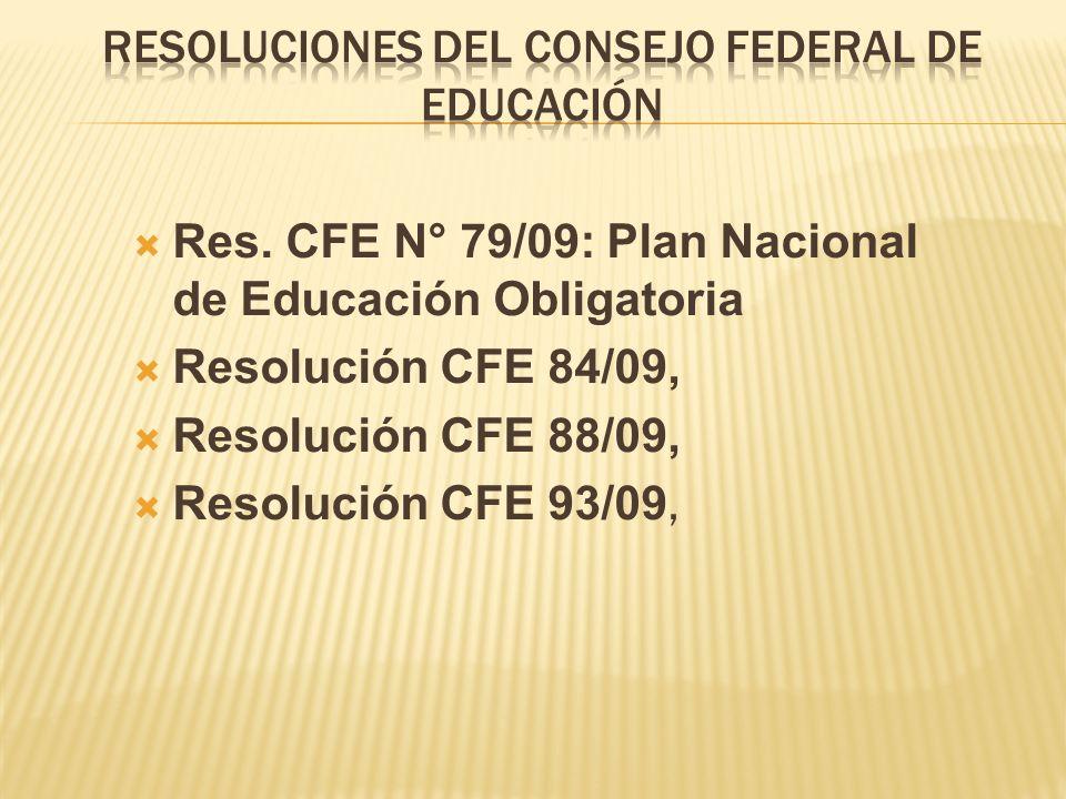Res. CFE N° 79/09: Plan Nacional de Educación Obligatoria Resolución CFE 84/09, Resolución CFE 88/09, Resolución CFE 93/09,