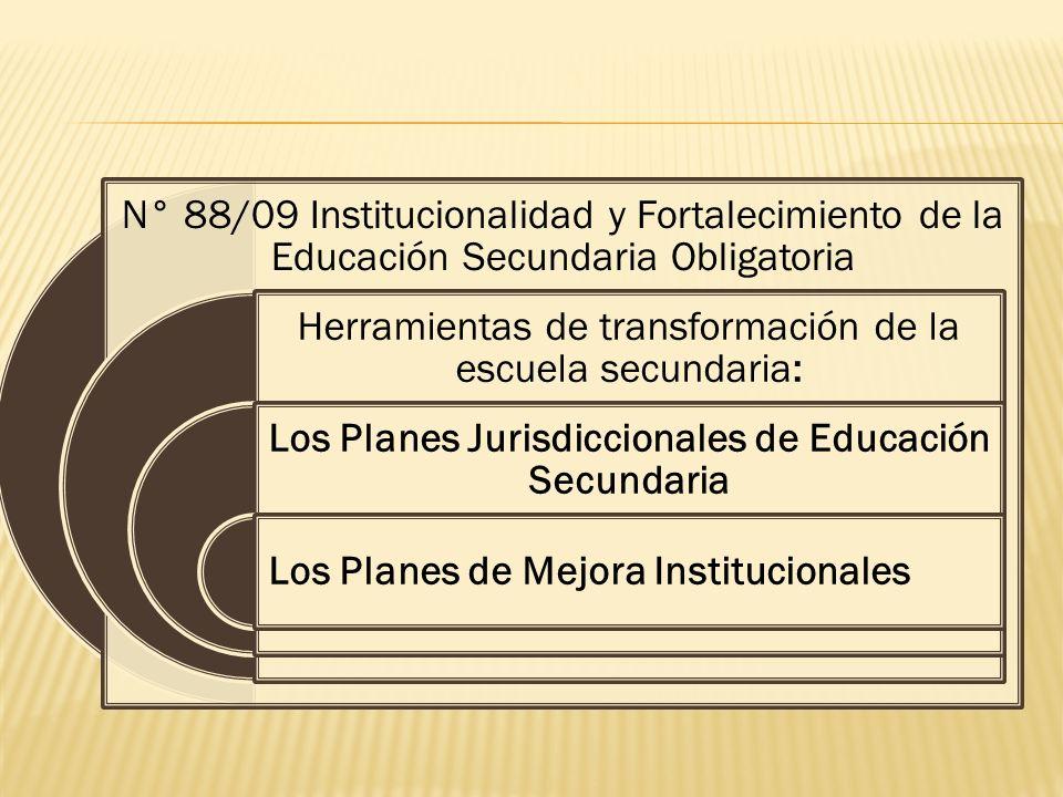 N° 88/09 Institucionalidad y Fortalecimiento de la Educación Secundaria Obligatoria Herramientas de transformación de la escuela secundaria: Los Planes Jurisdiccionales de Educación Secundaria Los Planes de Mejora Institucionales