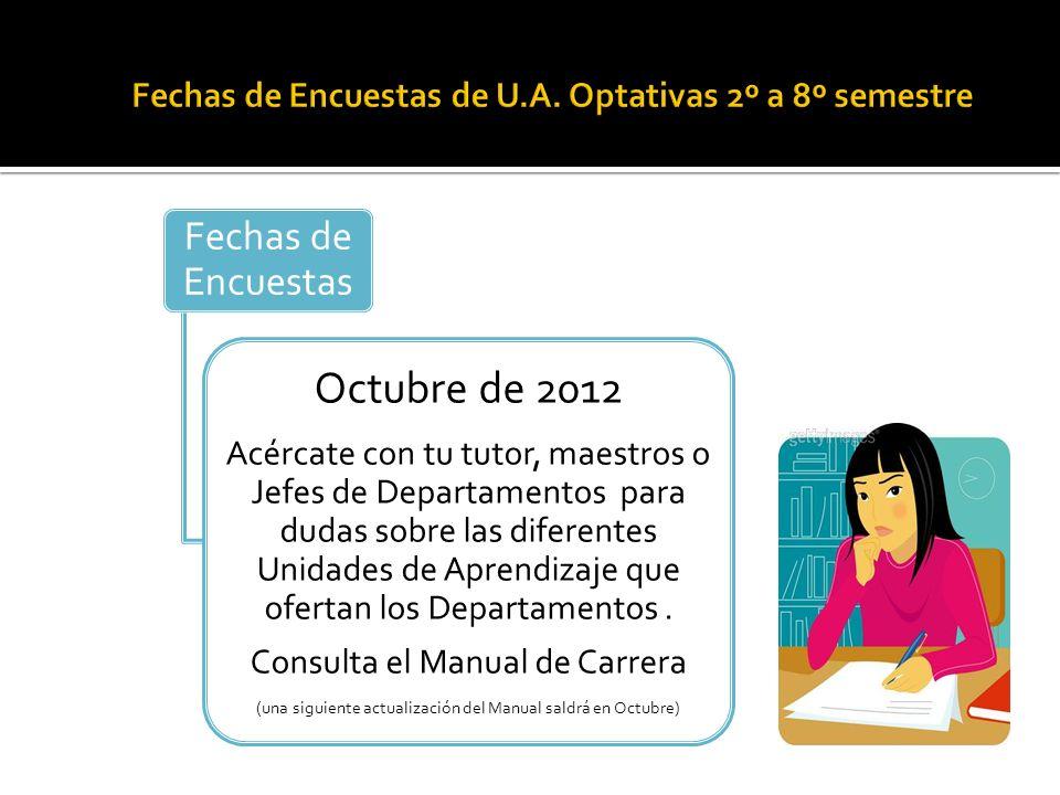 Fechas de Encuestas Octubre de 2012 Acércate con tu tutor, maestros o Jefes de Departamentos para dudas sobre las diferentes Unidades de Aprendizaje que ofertan los Departamentos.