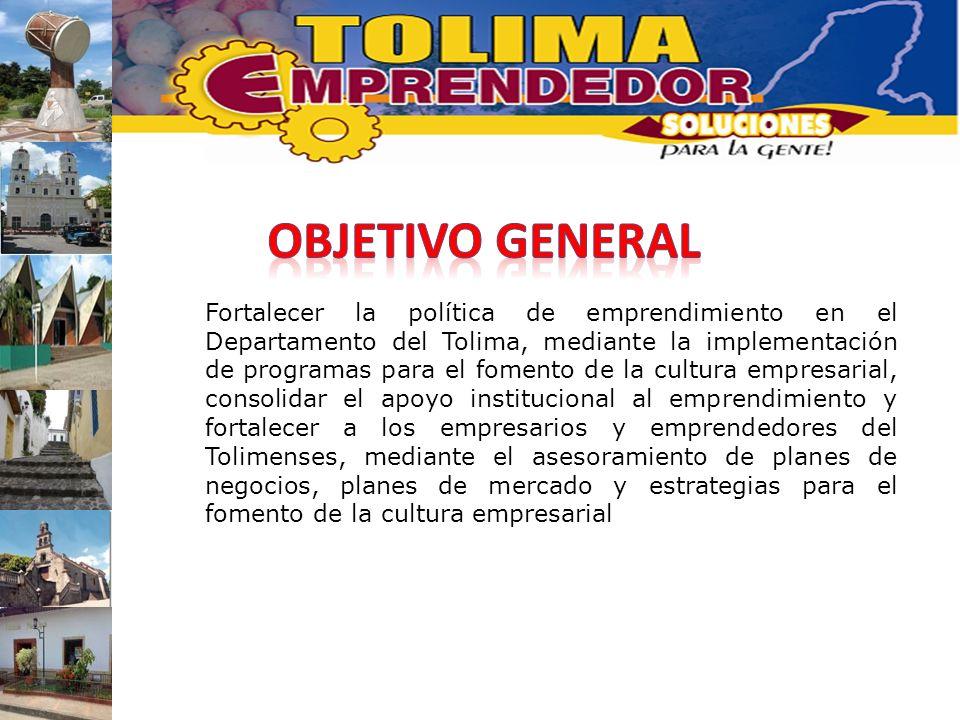 Fortalecer la política de emprendimiento en el Departamento del Tolima, mediante la implementación de programas para el fomento de la cultura empresar
