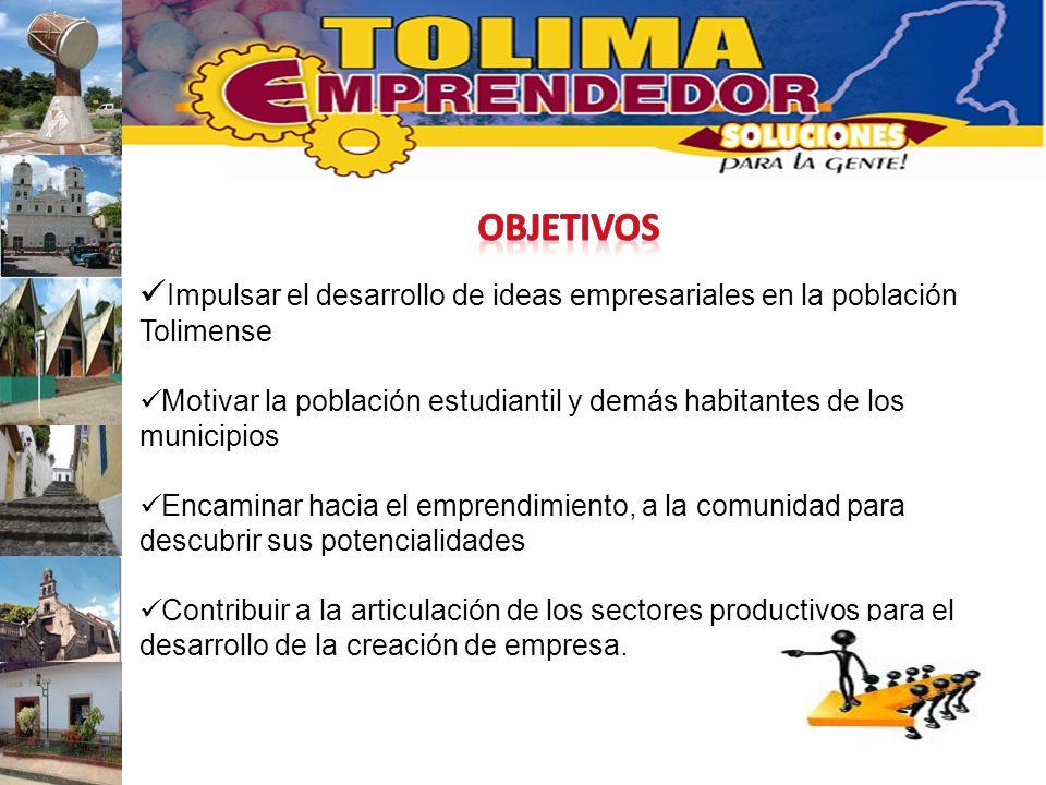 Impulsar el desarrollo de ideas empresariales en la población Tolimense Motivar la población estudiantil y demás habitantes de los municipios Encamina