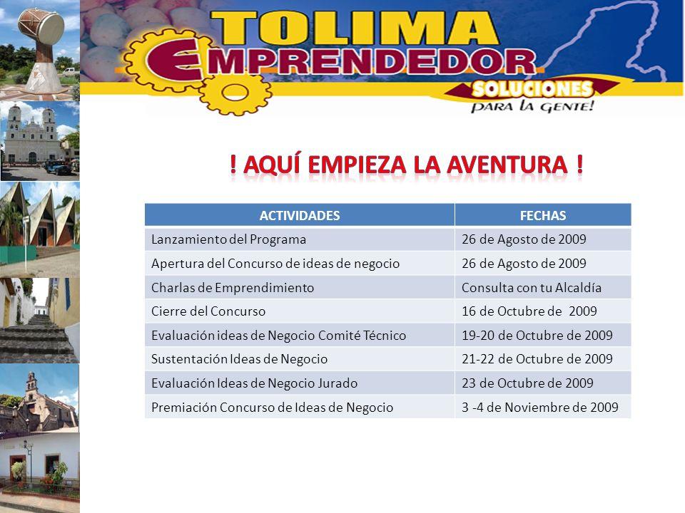 ACTIVIDADESFECHAS Lanzamiento del Programa26 de Agosto de 2009 Apertura del Concurso de ideas de negocio26 de Agosto de 2009 Charlas de Emprendimiento