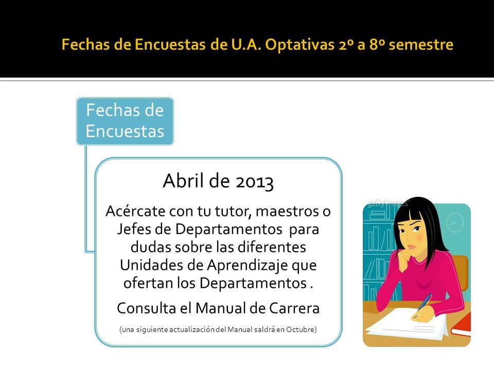 Fechas de Encuestas Abril de 2013 Acércate con tu tutor, maestros o Jefes de Departamentos para dudas sobre las diferentes Unidades de Aprendizaje que ofertan los Departamentos.