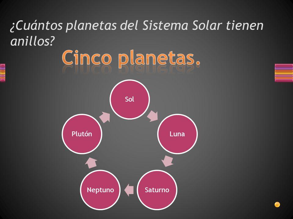 ¿Cuántos planetas del Sistema Solar tienen anillos? SolLunaSaturnoNeptunoPlutón