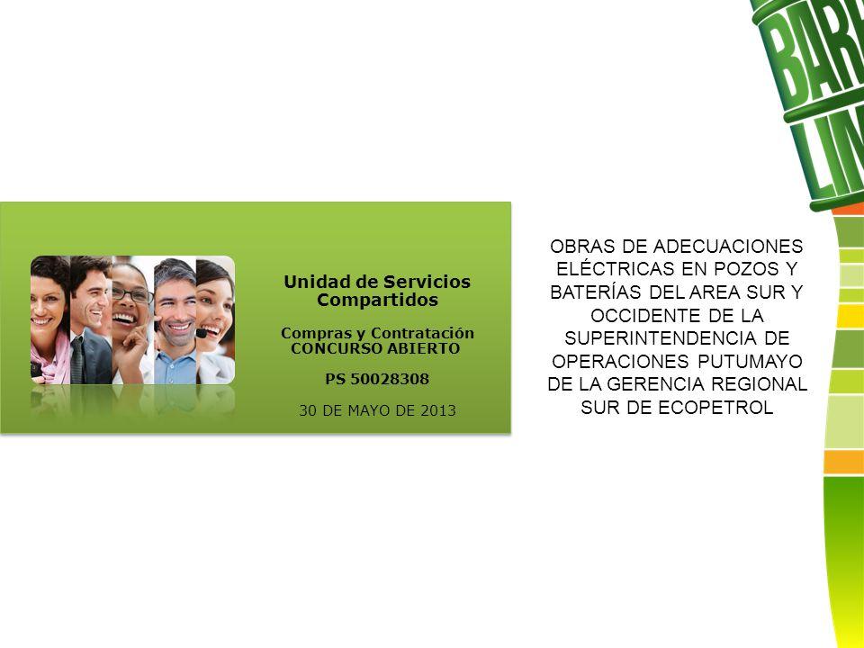 Unidad de Servicios Compartidos Compras y Contratación CONCURSO ABIERTO PS 50028308 30 DE MAYO DE 2013 OBRAS DE ADECUACIONES ELÉCTRICAS EN POZOS Y BATERÍAS DEL AREA SUR Y OCCIDENTE DE LA SUPERINTENDENCIA DE OPERACIONES PUTUMAYO DE LA GERENCIA REGIONAL SUR DE ECOPETROL