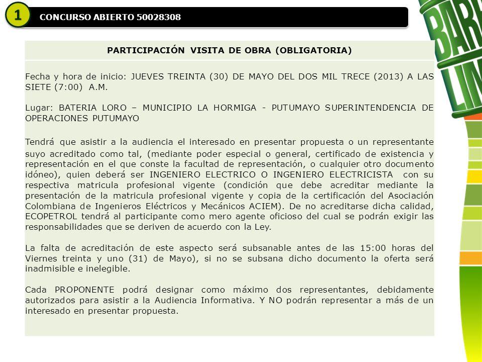 CONCURSO ABIERTO 50028308 11 PARTICIPACIÓN VISITA DE OBRA (OBLIGATORIA) Fecha y hora de inicio: JUEVES TREINTA (30) DE MAYO DEL DOS MIL TRECE (2013) A LAS SIETE (7:00) A.M.