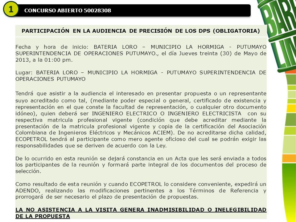 CONCURSO ABIERTO 50028308 11 PARTICIPACIÓN EN LA AUDIENCIA DE PRECISIÓN DE LOS DPS (OBLIGATORIA) Fecha y hora de inicio: BATERIA LORO – MUNICIPIO LA HORMIGA - PUTUMAYO SUPERINTENDENCIA DE OPERACIONES PUTUMAYO., el día Jueves treinta (30) de Mayo de 2013, a la 01:00 pm.