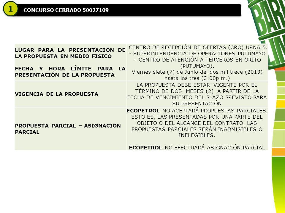 CONCURSO CERRADO 50027109 11 LUGAR PARA LA PRESENTACION DE LA PROPUESTA EN MEDIO FISICO FECHA Y HORA LÍMITE PARA LA PRESENTACIÓN DE LA PROPUESTA CENTRO DE RECEPCIÓN DE OFERTAS (CRO) URNA 5.