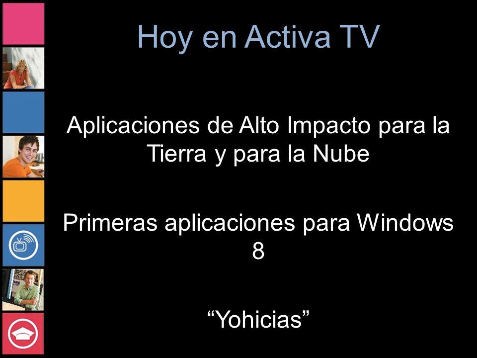 Hoy en Activa TV Aplicaciones de Alto Impacto para la Tierra y para la Nube Primeras aplicaciones para Windows 8 Yohicias