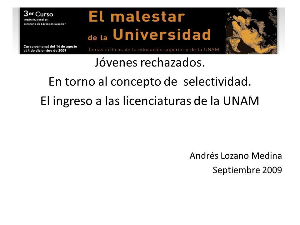 Ejes de la presentación 1.Mecanismos de ingreso a la UNAM 2.Demanda de ingreso a la UNAM 3.Características de los estudiantes de la UNAM (Gen 2007-2008) 4.Políticas de la UNAM