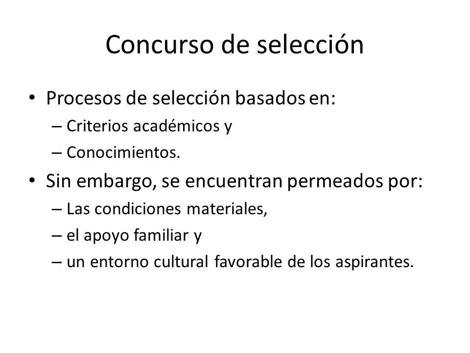 Concurso de selección Procesos de selección basados en: – Criterios académicos y – Conocimientos.