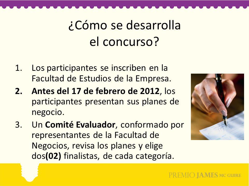 ¿Cómo se desarrolla el concurso? 1.Los participantes se inscriben en la Facultad de Estudios de la Empresa. 2.Antes del 17 de febrero de 2012, los par