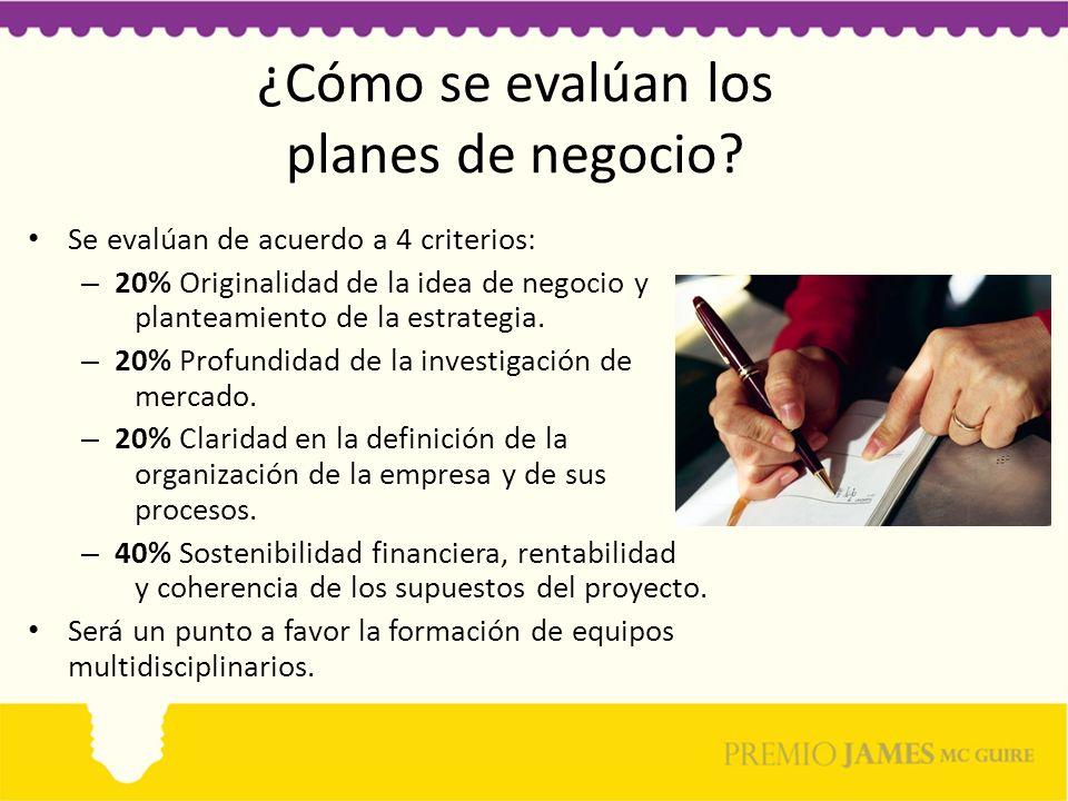¿Cómo se evalúan los planes de negocio? Se evalúan de acuerdo a 4 criterios: – 20% Originalidad de la idea de negocio y planteamiento de la estrategia