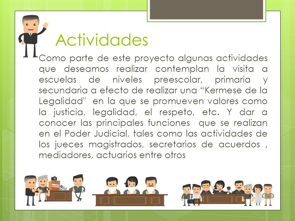 Actividades Como parte de este proyecto algunas actividades que deseamos realizar contemplan la visita a escuelas de niveles preescolar, primaria y se