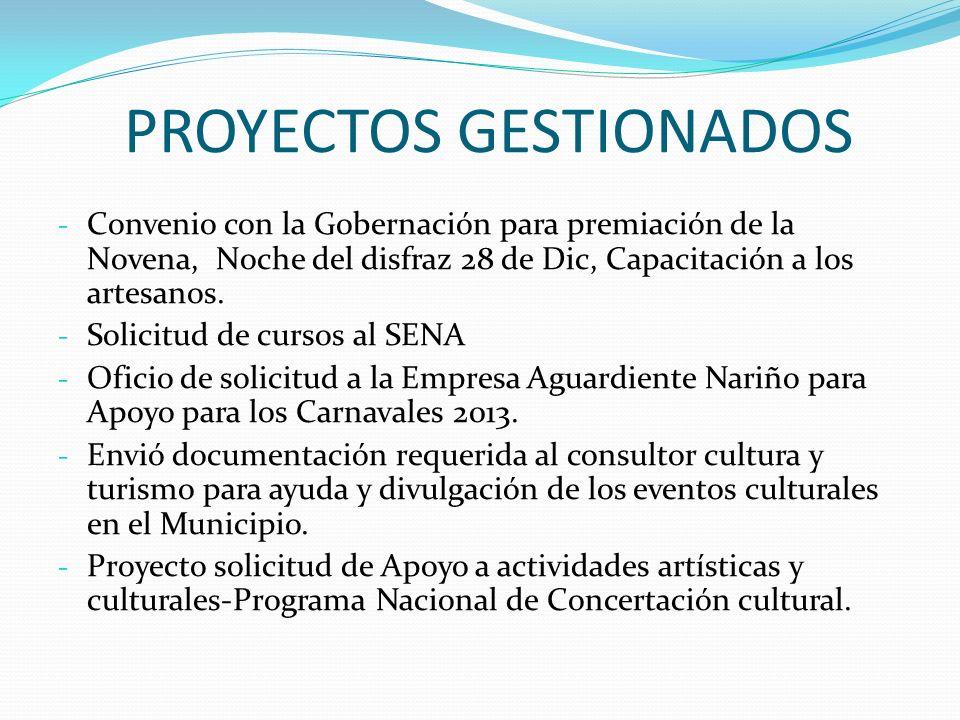 PROYECTOS GESTIONADOS - Convenio con la Gobernación para premiación de la Novena, Noche del disfraz 28 de Dic, Capacitación a los artesanos. - Solicit