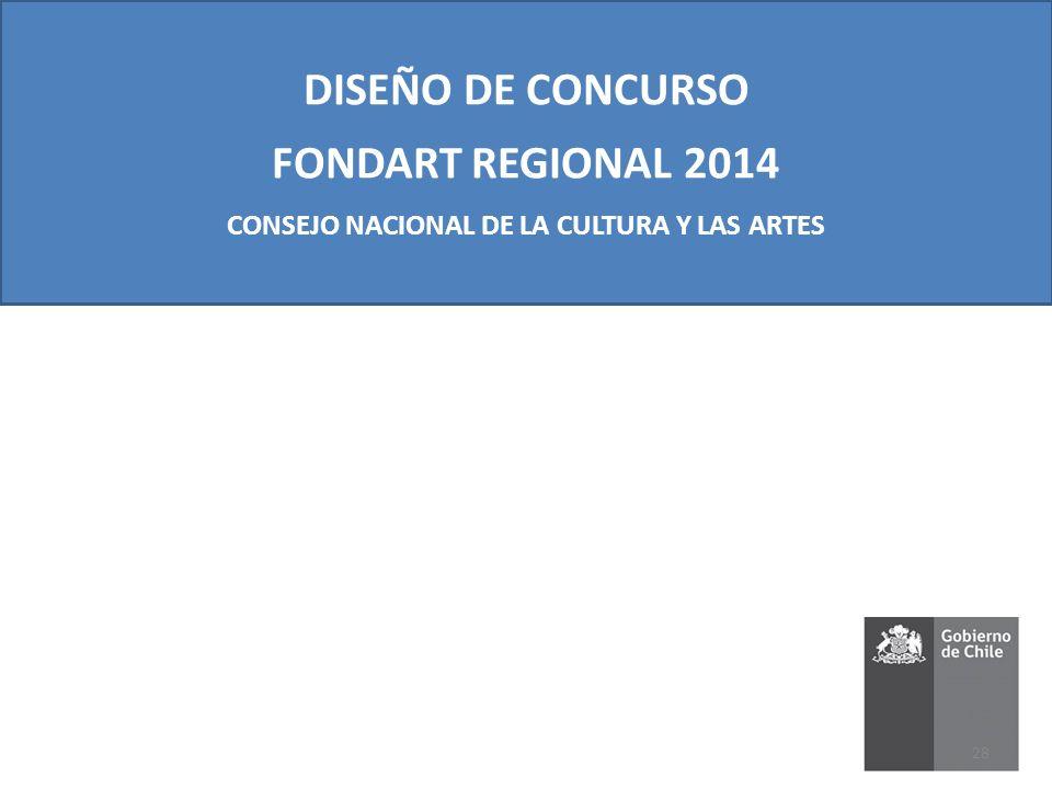 DISEÑO DE CONCURSO FONDART REGIONAL 2014 CONSEJO NACIONAL DE LA CULTURA Y LAS ARTES 28