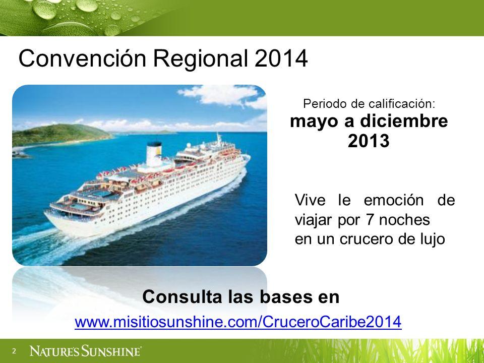 2 Convención Regional 2014 Periodo de calificación: mayo a diciembre 2013 Vive le emoción de viajar por 7 noches en un crucero de lujo www.misitiosuns