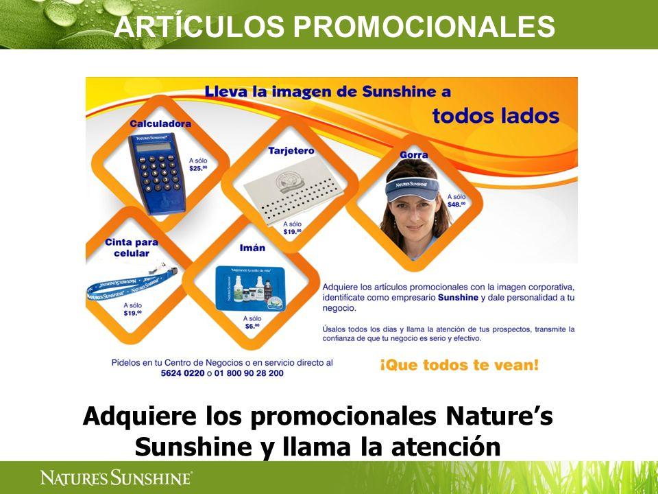 Adquiere los promocionales Natures Sunshine y llama la atención ARTÍCULOS PROMOCIONALES